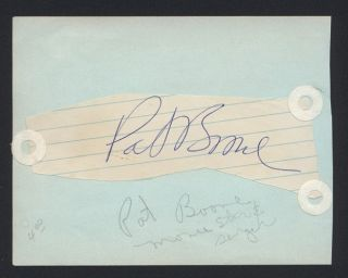 Pat Boone Pop Country Rock Singer Signed Autographed Auto Cut JC LOA