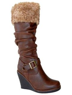 Stylish Faux Fur Cuff Slouchy PU Buckle Knee High Wedge Boots Brown Sz