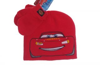 Disney Boys Red Cars Lightning McQueen Warm Winter Hat Cap Mittens