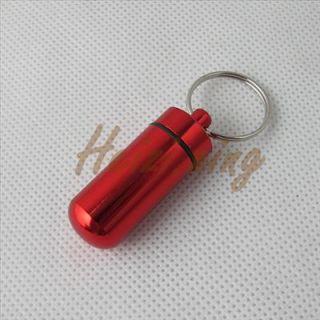 Mini Aluminum Pill Box Bottle Holder Container Keyring