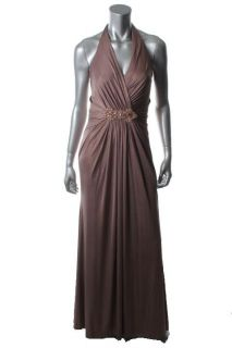 David Meister New Pink Metallic Embelished Long Formal Dress Gown 8