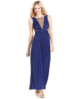 BCBGMAXAZRIA Dress, Sleeveless Pleated Cutout Gown   Womens Dresses