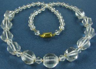 Antique Czech Crystal Clear Cut Glass Beads Necklace