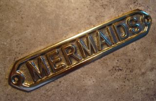 Brass Mermaids Plaque Sign Nautical SHIP Sailing Boating Ocean Home
