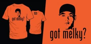 GOT MELKY? Giants All Star Melky Cabrera T Shirt Mens Orange Shirt