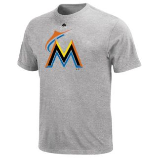 Majestic Miami Marlins Youth Soft Density Official Logo T Shirt Ash