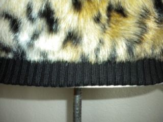 Michael Michael Kors MS Sz Large Leopard Print Faux Fur Cropped Jacket