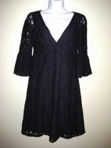 Michael Stars Black Lace Empire Waist V Neck Bell Sleeve Dress 0