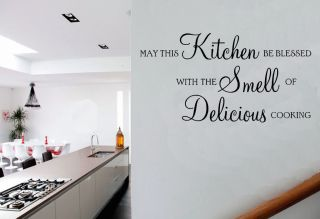 May This Kitchen Be Blessed Delicious Cooking Quote Vinyl Wall Art