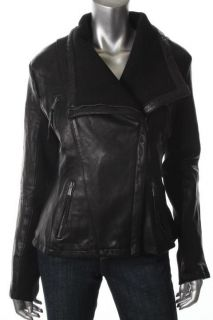 Michael Kors New Black Leather Zip Front Fitted Motorcycle Jacket L