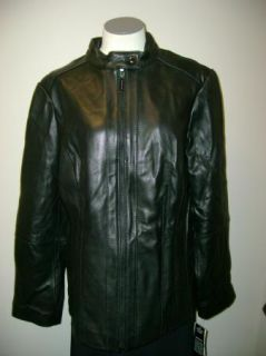 Michael Kors Womans Strap Collar Leather Jacket Black
