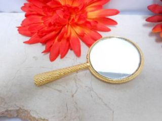 GOLD TONE FACETED RHINESTONE MIKE & ALLY SIGNED VANITY POCKET MIRROR