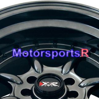 15 15x9 XXR 002 Chromium Black Wheels Rims Deep Dish Stance 4x100