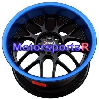 18 x 8 5 9 5 XXR 006 Black Blue Lip Wheels Rims Staggered Deep Dish