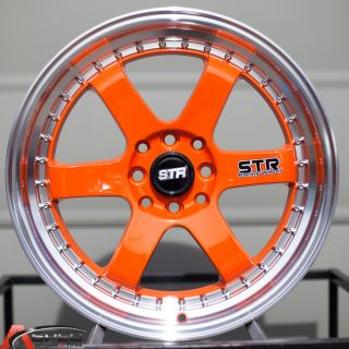 17 Str 510 4x114 3 Orange Wheel Fit Honda Accord Prelude RX7 Supra