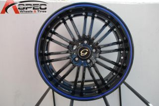 17X7.5 G LINE G820 WHEEL 5X120/114.3 +38 BLACK BLUE RIM FITS CELICA