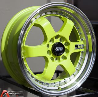17 Str 510 5x114 3 Green Wheel Fit Acura RSX TSX ILX Honda Civic SI