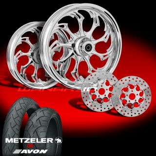 Widow Chrome 21 Wheels Tires Dual Rotors for 2009 13 Harley Touring