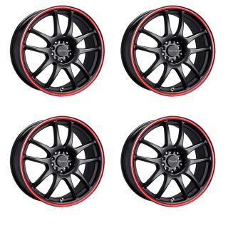 DR31 Wheels Black w Red Striped Lip 15 Rims 4 Lugs