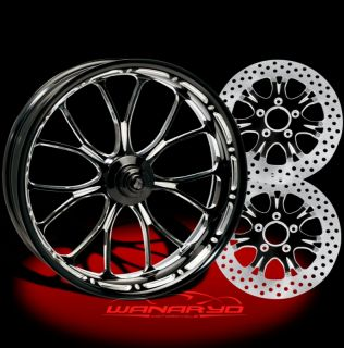 Heathen Contrast Cut 21 Wheels Tires Dual Rotors for 2009 13 Harley