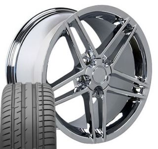 17 18 9 5 10 5 Chrome Corvette C6 Z06 Wheels Conti Tires Rims Fit