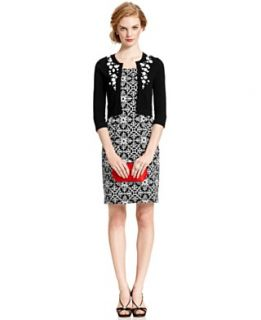 Jessica Howard Petite Dress and Cardigan, Sleeveless Printed Sheath