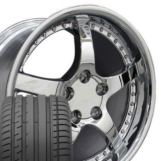 18 17 Chrome C5 Style Wheels Tires Set of 4 Rims Fit Corvette C4