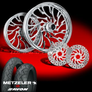 Alien Chrome 21 Wheels Tires Dual Rotors for 2009 13 Harley Touring
