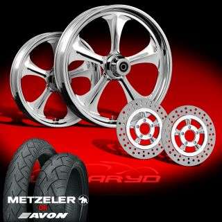 Adrenaline Chrome 21 Wheels, Tires & Dual Rotors for 2000 08 Harley
