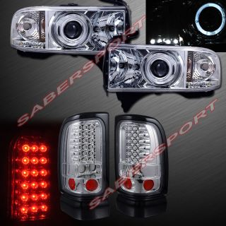 94 01 Dodge RAM Pickup Halo Projector Headlights Chrome w LED LED Tail