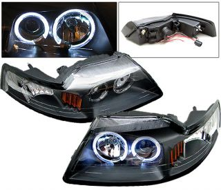 99 04 Ford Mustang Black Halo Projector Headlights Lamp