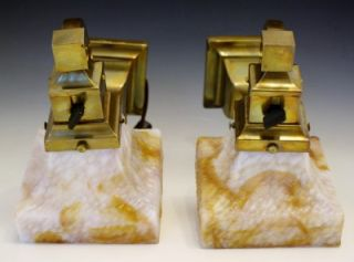 ARTS & CRAFTS C1900 BRADLEY & HUBBARD WALL SCONCES W/ OPALESCENT GLASS