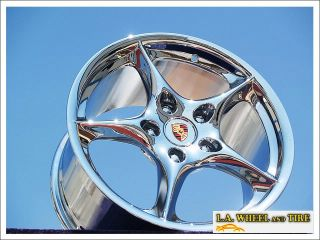 NEW 18 PORSCHE 911 CARRERA C2 OEM CHROME WHEELS RIMS 67304 EXCHANGE