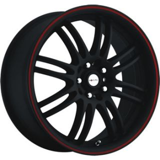 18x8 Focal F 16 Black Red Rims Wheels 5x112 5x120 BMW Jetta Audi Sale