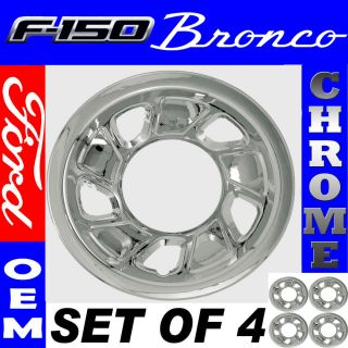 PC Set 92 96 Ford Bronco F150 Truck 15 Chrome Wheel Skin Hubcap