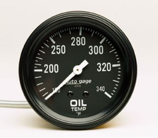 Auto Gage Mechanical Oil Temperature Gauge 2 5 8 Dia Black Face 2314