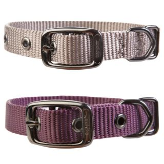 Top Paw Nylon Dog Collar   Beige, Plum