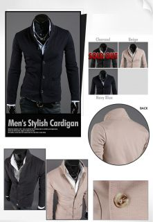 HAPPYMORI] Mens Stylish Cardigan Sweater Jacket Jumper HB03   S/M