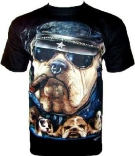 Smoking DOG T SHIRT Hund Cartoon Tiermotiv Schwarz Black Gr XXL