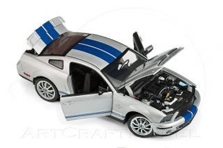 2008 FORD SHELBY MUSTANG GT500 KR Silver Blue Stripes 124 Franklin
