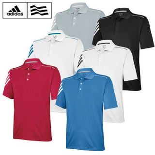 2013 Adidas ClimaCool 3 Stripes Mens Golf Polo Shirt *NEW OUT*