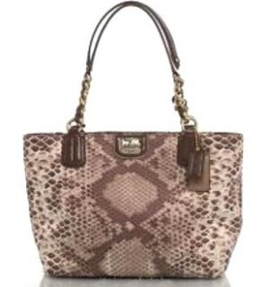 Coach Madison Python Print Zip Tote Handbag 20482 Khaki