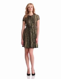 BCBGMAXAZRIA Womens Galine Lace Dress With Stripping
