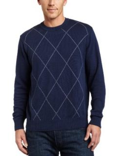 Geoffrey Beene Mens Cotton Crew Sweater, Blue Agate, Small