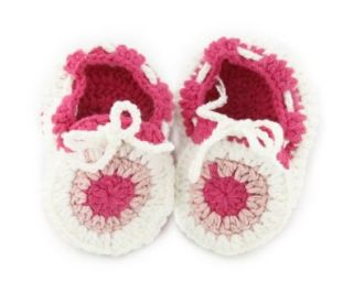 Boy White Peach Flower Sock Crochet Solf Knit Shoes Size 15 Shoes