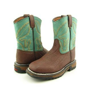 3591 7 Ride Bean Toe Western Boots Shoes Aqua Youth Kids Boys Shoes