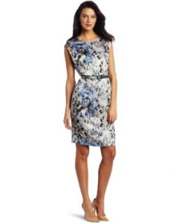 AK Anne Klein Womens Petite Camouflage Print Dress