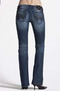 New Miss Me Split Fleur De Lis Crystal Boot Cut Womens