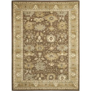 Oushak Brown/ Green Powerloomed Rug (96 x 13)