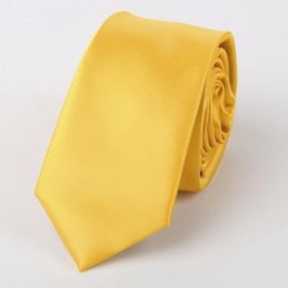 Yellow Stripe Skinny Tie Matching Gift Box Set Goldenrod